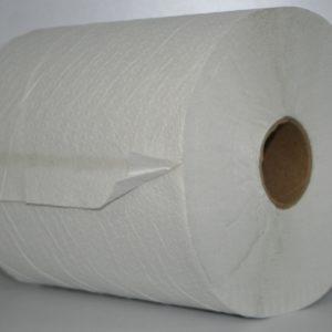 Toalla en Rollo blanca de papel para manos.