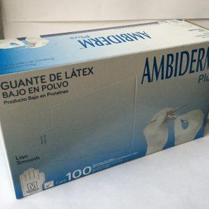 Guantes de Latex blanco Ambiderm, caja con 50 pares.