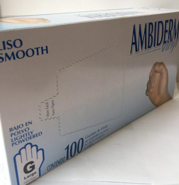 Guantes de vinilo marca Ambiderm caja con 50 pares no causan alergia