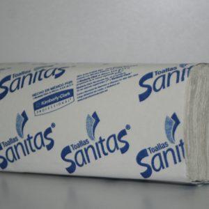 Toalla Interdoblada Sanitas de papel para manos.