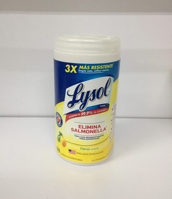 Toallas desinfectantes Lysol bote con 80 toallas